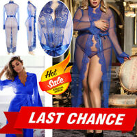 Blue Sheer Floral Lace Gown Maxi Long Dress Nightie Lingerie Babydoll Robe M-5XL