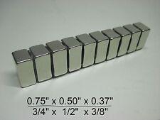 "10 Huge N30 Neodymium Block Magnet. Super Strong Rare Earth 3/4"" × 1/2"" × 3/8"""