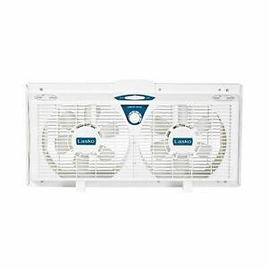 """Lasko 8"""" Electrically Reversible Twin Window 2-Speed Fan, Model #2138, White"""