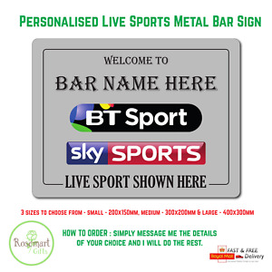 Personalised bt sports Sky Sports Bar Sign Metal Plaque Pub Man Cave Shed beer
