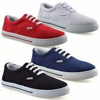 Mens Boys Casual Flat Lace Up Canvas Skate Pumps Plimsolls Trainers Shoes Size
