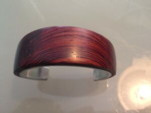 Stunning 925 Sterling Silver and  Rosewood Artisan Bangle Cuff Vintage Hallmark