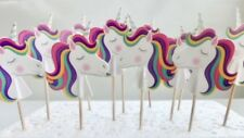 Unicorn Cupcake Toppers. Cake decor, party supplies SET OF 10