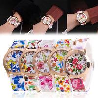 Fashion Girl Women's Watch Silicone Printed Flower Causal Quartz WristWatches
