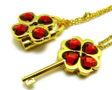 Shugo Chara! / Guardian Characters! Necklace with Dark Red Gem Key Lock Pendant