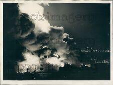 1971 Night Scene Harvard Warehouse Fire Kearny New Jersey Press Photo