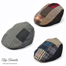 Fenside Country Abbigliamento Uomo Marrone Patchwork Tweed Lana Flat Cap