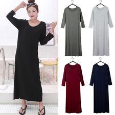 Soft Women's solid Modal Long Maxi Dress Long Loose Sleepwear Casual Dresses