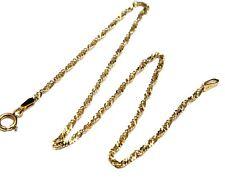 .375 9ct YELLOW GOLD Ladies Singapore Twist Chain Ankle 9'' Bracelet, 1.0g - M05