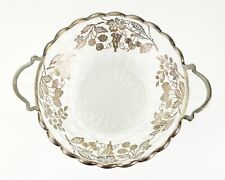 Vintage Frosted Glass Sterling Silver Overlay Strawberry Pattern Serving Bowl