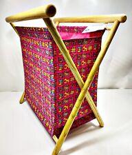 Allary Craft & Sew Carryall Vintage Folding Wood Frame Storage, Pink Fabric