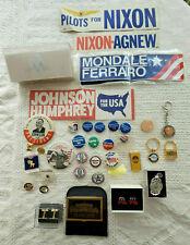 Lot of Vintage Political Memorabilia Buttons Bumper Stickers Key Chains Stickpin