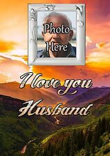 Personalised Photo Husband Graveside Memorial Card with Free Ground Stake F31