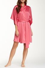NEW NATORI $98 TROPICAL PINK SOLID CHARMEUSE WRAP ROBE SZ M MEDIUM