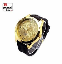 NEW Hip Hop Iced Out 14k Gold Plated Silicone Band Techno Pave Watch 7824 GBK