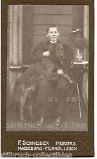 SHEPHERD DOG BERGER on lap of his boy friend master antique vtg CDV PHOTO CARD