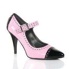 women's baby Pink & Black rockabilly retro peeptoe heels size 6