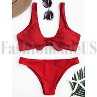 Womens Sexy Red Knot Bikini Set Push-Up Padded Swimwear Swimsuit Thong Bathing