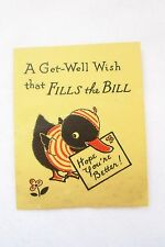 Vtg.Get Well Card~Get Well Wish That Fits The Bill~Black Duck~Stripe Shirt/Hat