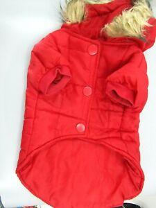 Red Dog Jacket Size Medium Faux Fur Lining On Hood with pocket