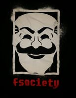 LARGE Mr Robot fsociety t-shirt cult tv show punk rock