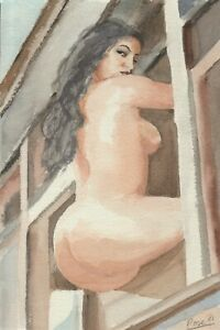 Original watercolour figure nude woman painting, 7.5x11 inches.