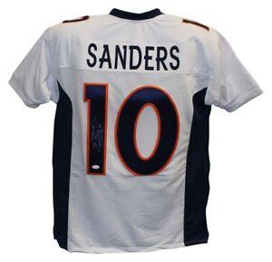 Emmanuel Sanders Autographed/Signed Pro Style White XL Jersey JSA 25983