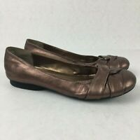 ST. JOHNS BAY Womens 1443 BALLET FLATS SHOES SLIP ON BROWN Soft Leather Sz 10M