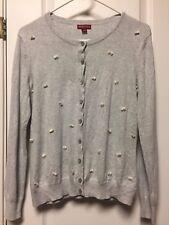 Merona Womens Gray Long Sleeve Button Front Cardigan Sweater White Fuzzies L