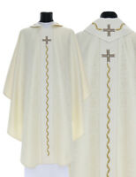 Cream Gothic Chasuble with stole 743-K25 Vestment Casulla Crema Casula Creme