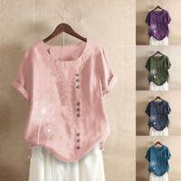 ZANZEA Women Summer Short Sleeve Floral Tops Casual Loose Button Shirts Blouses