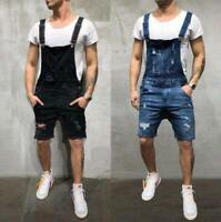Mens Fashion Denim Ripped Jeans Shorts Pants Suspender Trousers Overalls SKGB