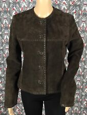 NWOT Michael Kors Women's Brown Suede Leather Jacket Coat Button Down Size 8