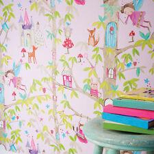 Woodland Fairies Tree Fairy Bear Glitter Childrens Wallpaper 667000 Pink
