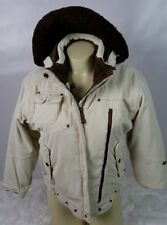 Obermeyer Ski Snowboard Jacket Junior Size 12 Corduroy Snow Protection Off White