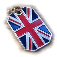 GREAT BRITAIN FLAG PENDANT NECKLACE UNION JACK UNITED KINGDOM DOG-TAG BALL CHAIN