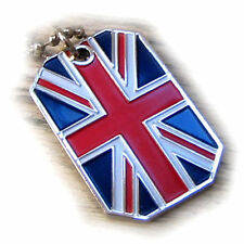 GREAT BRITAIN FLAG PENDANT NECKLACE UNION JACK UNITED KINGDOM DOG-TAG BALL CHAIN
