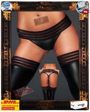 Erotischer schwarzer Panty String Tanga scharfe Bändern F161 Noir Handmade Muse