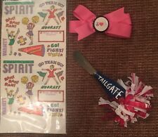 Cheerleading Pink Bow, Cheer Stickers, Cheer Knife Spreader New