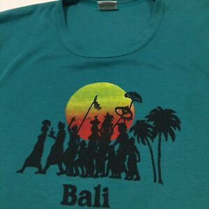 Vintage Mia XL 'Bali' T-Shirt Rear Spell Out And People Sunset Motif Indonesia