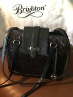BRIGHTON BLACK LEATHER HANDBAG WITH WEAVED LEATHER FRONT & BRIGHTON DUST BAG!