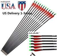 US Carbon Arrows 24PCS 6/12/30inch Archery 7.8mm F Compound Bow Hunting Pratise