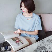 Summer Women Korean Crew Neck Cut Out Solid 2XL Basic T Shirt Casual Top Blouse