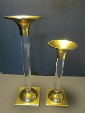 "Frederic Cooper Lucite & brass set 2 candle sticks Mid Century clear 12"" tall"
