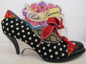 Poetic Licence by Irregular Choice Force of Beauty Black Red Lace Up Ladies Shoe