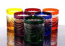 Romain Cristal de plomb Wisky Verres 6 x, 240 ml 298) couleur,poli main 24%PbO