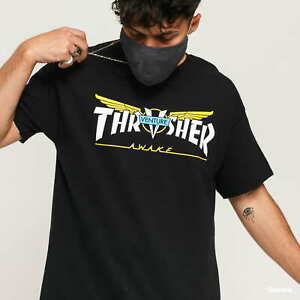 Thrasher Tee Venture Trucks Collab Black Premium Skateboard Magazine T-Shirt