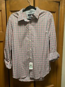 Nautica Button Down Men Slim Fit Large. Marine blue and red stripe pattern. NWT