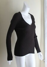 WOLFORD -Sz L (M) BROWN Body-Con V-Neck Wool Knit Fitted Sweater