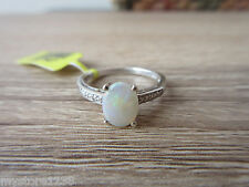 Australian Natural Opal Ring Platinum Overlay Sterling Silver Size 6,7,9,10 Opt